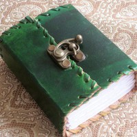 Mini Green Leather Journal with Brass Clasp | WithAnIndianTouch - Paper/Books on ArtFire