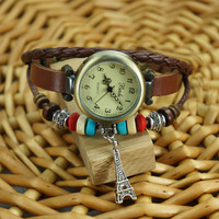 Ethnic Beads Tower Pendant Wrap Watch