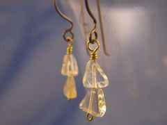 Simple Drop Citrine Earrings with Handmade Niobium Earwires - Naturally Nickel Free