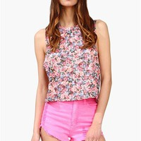 Think Flowers Tank - Pink
