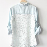 CLORIS — Light Blue Denim Shirt With Lace Back