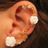 "Non Pierced Cartilage  Cuff ""Roses are White"" Ear Cuff Gold tone Wedding Prom Bridal"