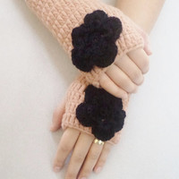 Fingerless, Handmade Crochet Fingerless gloves, Camel gloves black flower, Women accessories. Women accessories, Spring trends, mom gifts,