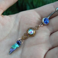 choose 1 abalone belly ring BLUE amethyst in beach summer moroccan belly dancer indie gypsy hippie morrocan boho and hipster style