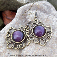 Purple Cats Eye Dangle Cabochon Earrings