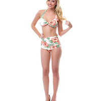 50&#x27;s Style Peach Hibiscus Two Piece Swimsuit - Unique Vintage - Prom dresses, retro dresses, retro swimsuits.