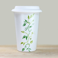 Hand Painted White Stoneware Travel Mug with silicone lid double walled green botanical design leaves