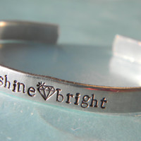 shine bright diamond aluminum bracelet 1/4 inch wide graduation gift