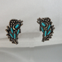 Vintage Turquoise Earrings. Modernist. Faux Turquoise and Antiqued Silver
