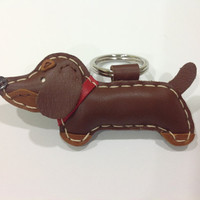 Oscar the Dachshund Leather Keychain ( Brown / red collar )