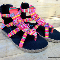 Womens Gladiator Sandals, Summer Shoes In Hmong Rainbow Embroidery and Batik Isadora
