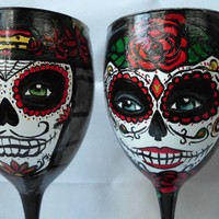 Day of the Dead wine glasses | Artsyleenies - Glass on ArtFire