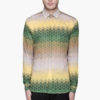 Jonathan Saunders Green And Yellow Ombre Dot Lavers Shirt for men | SSENSE