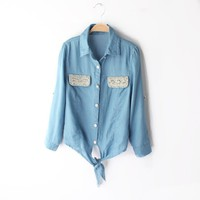 Buy Pearls & Rhinestones Lace-up Short Slim Denim Shirt on Shoply.