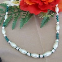 Oval Ivory Glass Pearls and Emerald Howlite Bead Necklace | pattysdreamdesigns - Jewelry on ArtFire