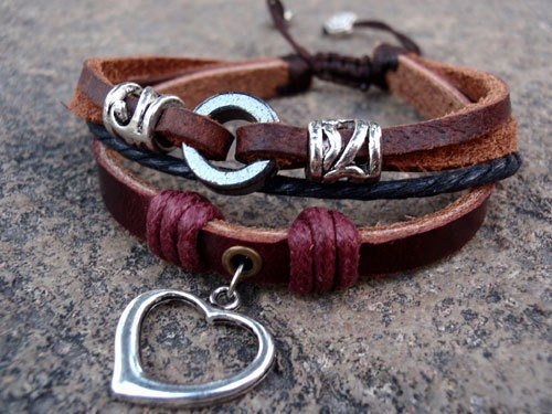 Silver heart charm leather bracelet | eyongs - Jewelry on ArtFire