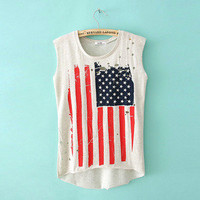 American flags printed T-shirt unlined upper garment do old used empty jacket vest