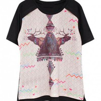 Black Oversized T-shirt with Reindeer and Doodle Print