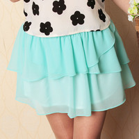 Buzzcare  Sweet Chiffon Wave Mini Skirt
