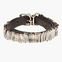 Goti Black Leather & Silver Belted Wrap Bracelet for men | SSENSE