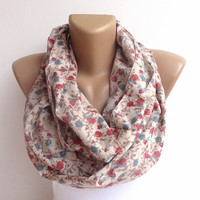 cotton floral infinityscarf .loop scarf ,Eternity scarf .Circle scarf . Tube scarf  Loop scarf . Snood infinity loop women scarves