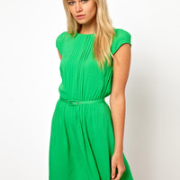 ASOS Skater Dress With Pintucks And Self Belt at asos.com