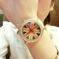 Union Jack Style Rhinestone Watch