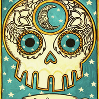 La Luna Calavera Loteria Print By Maryann Luera