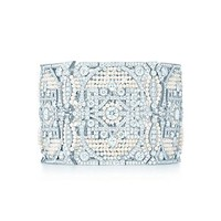 Tiffany & Co. -  The Great Gatsby Collection bracelet in platinum with diamonds and seed pearls.