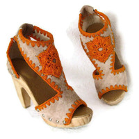 Platform Clog Shoe Beige Suede with Orange Crochet Flower detail Wooden Heels Karen Kell Collection