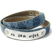 AS YOU WISH Hand stamped Leather Cuff Bracelet by geekdecree
