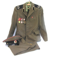 Soviet military uniform jacket pants shirt hat cap khaki green original 1970 Russian
