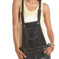 Hot Kiss Frayed Denim Shortall: Charlotte Russe