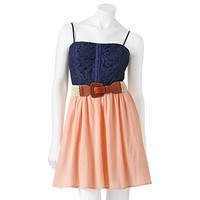 City Triangles Lace Sleeveless Dress - Juniors