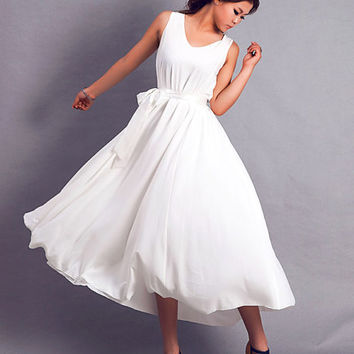 White chiffon maxi woman dress (0169)