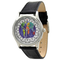 World Time Watch (Silver / Map)