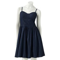 LC Lauren Conrad Fit & Flare Chambray Bustier Sundress