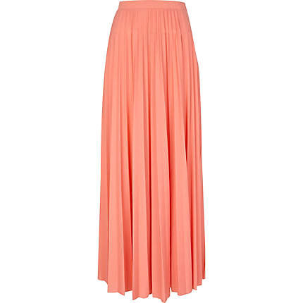 coral pleated maxi skirt maxi skirts from river island
