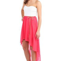 strapless belted chiffon high low casual dress - 1000046824 - debshops.com