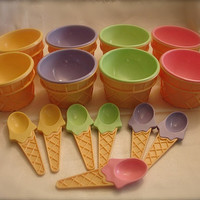 Vintage plastic ice cream cone dishes with by ThinkOldThinkNew