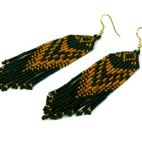 Native American Earrings Inspired. Black and Golden Yellow Earrings. Dangle Long Earrings. Beadwork