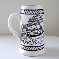 Father's Day Stein Nautical Ship Ceramic Beer Mug Painted Sailor Ship Ocean Waves Rope Retro Tattoo Black White Ivory Oktoberfest