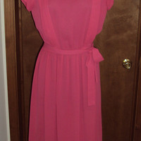 Vintage Hot Pink Semi Sheer Pleated Top Dress Flutter Cap Sleeves by Townhouse Size 8