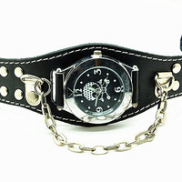 black face wrist watch, real black leather wrist watch bracelet for men, men&#x27;s wrist watch, boy wrist watch  RZ0264