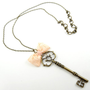 Skeleton Large Key Necklace Pendant with Pink Bow Tie Long Necklace Unique Handmade Spring Jewelry