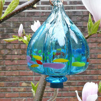 Beautiful Hummingbird Feeder - Turquoise Blown Glass