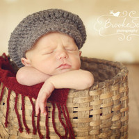 Newborn Baby  Boys  Driver Hat Flat Cap Photo Prop Hat - Ready to Ship