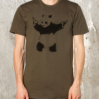 Street Art Panda Bear with Guns  - Screen Printed American Apparel T- Shirt Men&#x27;s / Unisex Fit - Available in S, M, L, XL and 2XL