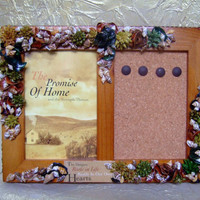 Wooden Picture Frame with Cork Memo Holder, Embellished with Potpourri and Sea Shells, 3 1/2 x 5 Photo