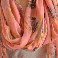 Pink Scarf with Feather Print